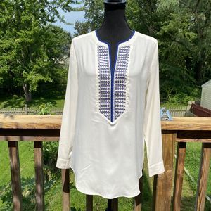 Ann TaylorWhite & Blue Long Sleeve Embroidered Top